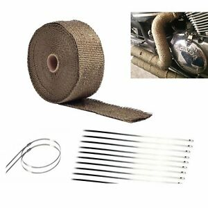 2 50ft Titanium Manifold Fiberglass Exhaust Header Pipe Heat Wrap Tape 10 Ties