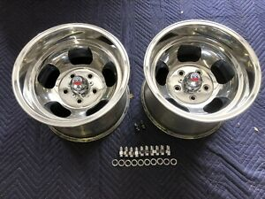 Vintage 15x10 Pair Polished Shelby Slot Mags Nice 5 On 5 C 10 Chevy Truck Van