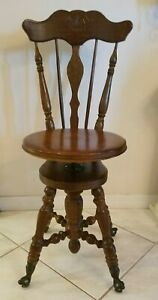Antique Piano Stool High Back Spindle Chair Adjustable Seat Ball Claw Foot