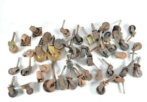 Antique Wooden Iron Caster Wheels 1 To 2 For Table Chair Trunk Bed Lot Of 36