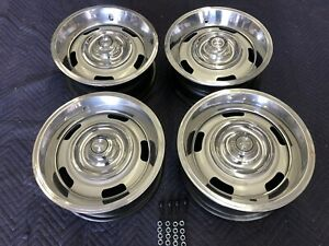 Set Of 4 1967 Chevy 15x6 Corvette Large Dc Rally Wheels Restored Complete