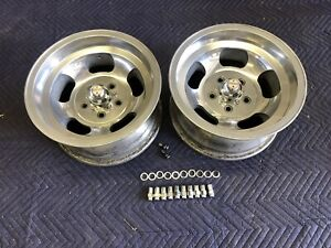 Vintage 15x7 5 Pair Polished Real Sprint Slot Mag Nice 5 On 4 3 4 Chevy Hotrod