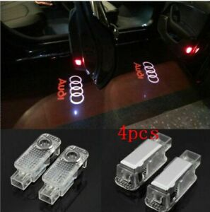 4pcs For Audi Logo Led Laser Projector Door Welcome Ghost Courtesy Puddle Lights