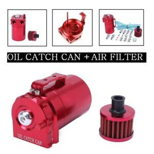 Cylinder Aluminum Engine Oil Catch Reservoir Breather Tank can W Filter Red