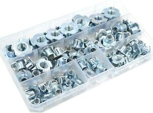 T Nuts Zinc Plated Steel T nut 4 Pronged Tee Blind Nuts Assortment Kit For Wood