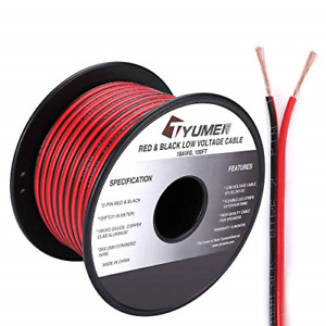 Tyumen 100ft 18 Gauge 2pin 2 Color Red Black Cable Hookup Electrical Wire Led Dc