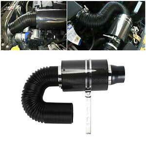 Universal Car Cold Air Filter Feed Enclosed Intake Induction Pipe Hose Kit Black