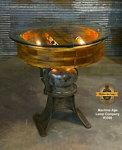 Steampunk Industrial Machine Age Lamp Flat Belt Pulley Table Stand Console Pub