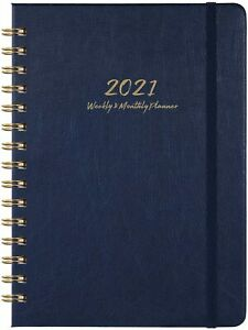 2021 Daily Weekly Monthly Pocket Planner january 2021 December 2021 blue