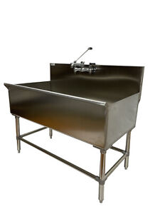 48 Stainless Steel One Compartment Commercial Utility Sink 304 Stainless 16 Ga