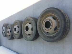 05 Ford F550 Set Of 5 Steel 10 Lug Dually Wheels Only 16001