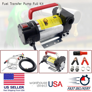 Electric Transfer Pump 12v Kit Portable With Hose Nozzle For Diesel Oil Fuel Gas
