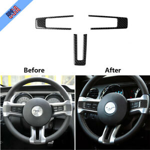 For Ford Mustang 2009 2013 Carbon Fiber Steering Wheel Button Frame Cover Trim