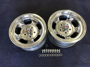 Vintage 15x7pair Polished Real Shelby Cal 500 Slot Mags5 On 4 3 4 Chevy Hotrod