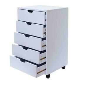5 drawer Wood Filing Cabinet Mobile Storage Cabinet For Closet Office Us Stock