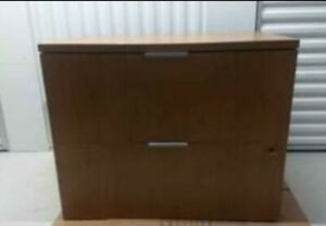 2 Drawer Lateral File Cabinet 36 Medium Oak W lock Local Chicago Pick Up