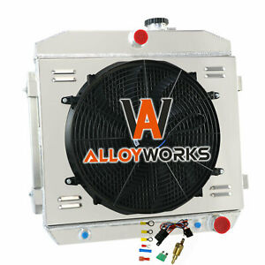 3 Row Radiator Shroud Fan Thermostat For 1955 1957 1956 Chevy Bel Airnomad V8