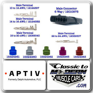Aptiv Delphi Weather Pack 6 Way 10 Sets Male Of Connector Terminal Seal