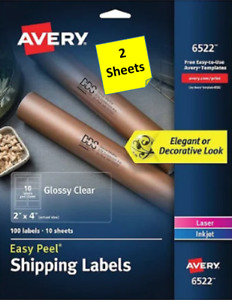 2 Sheets Avery 6522 Glossy Clear Shipping Labels 2 X 4 Laser inkjet