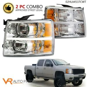 For 2007 14 Chevy Silverado Led Drl Strip Chrome amber Corner Headlight Lamp