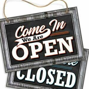 Open Closed Sign For Business Door Reversible Double Sided With Rope Square