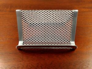 Silver Wire Mesh Business Card Holder Display For Desktop contemporary Accessory