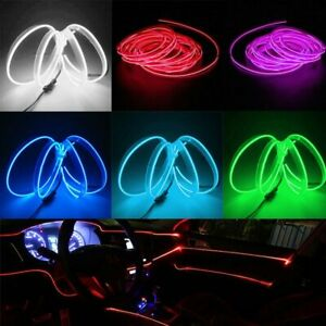 2m 12v Car Interior Decorative Led Wire Atmosphere Cold Light Strip Lamp Rope Us