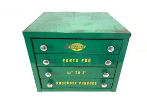 Greenlee Knockout Punches Parts Cabinet empty Industrial Storage 4 Drawers Vtg