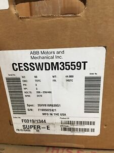 New 3 Hp Baldor Motor Cesswdm3559t Stainless Steel never Used