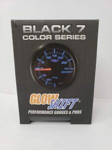 Glowshift Black 7 Color 30 Psi Turbo Boost Vacuum Gauge Kit Includes Mechani