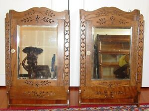 Matching Pair Antique Quartered Oak Spoon Carved Medicine Cabinets 15616