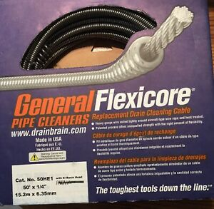 General Wire Spring 50he1 Flexi Core Drain Cleaner Cable F