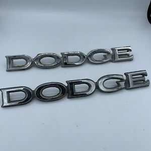 2 Authentic Vintage Dodge Metal Car Old Truck Emblem Badge Insignia Silver