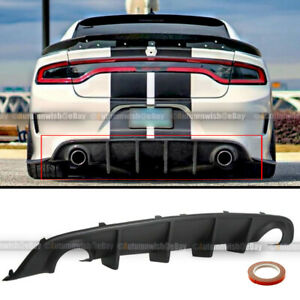 For 15 20 Dodge Charger Oe Style Pp Rear Bumper Diffuser Shark Fin Lip Body Kit