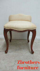 Vintage French Country Carved Vanity Seat Chair Italian
