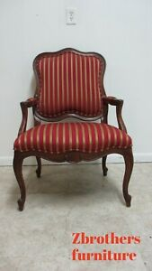 Ethan Allen Country French Carved Living Room Arm Lounge Chair B