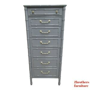 Vintage Thomasville Allegro Faux Bamboo Painted Dresser Lingerie Chest B