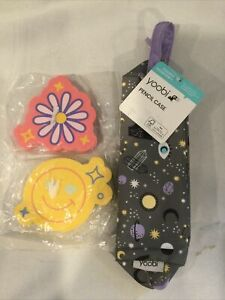 More Than Magic Jumbo Erasers Smiley Face Yellow Pink Flower Pencil Case