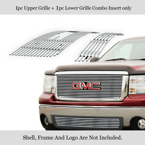 Fits 2007 2012 Gmc Sierra 1500 New Body Style Upper lower Stainless Grille Combo