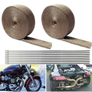 2 Roll 2 50ft Titanium Basalt Exhaust Wrap Manifold Header Pipe Heat Wrap Tape
