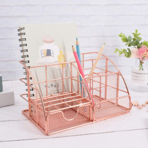 Rose Gold Desk Organizer With Sliding Drawer Multifunctional 5 Compartments