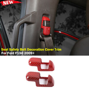 Interior Seat Safety Belt Decor Cover Trim For Ford F150 2009 Red Carbon Fiber