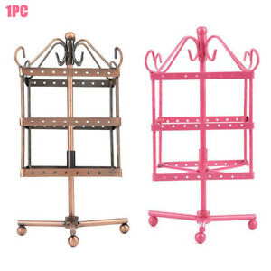 3 Tiers 96 Holes Earring Display Storage Holder Jewelry Stand Rotating Swing