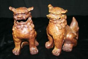 Vintage Kutani Foo Dog Lion Statues Shi Shi Dogs Brown Pair Excellent Condition