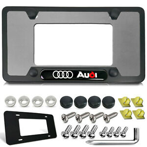 Black Aluminum License Plate Frame For Audi Ring With Stainless Car Tag Screws