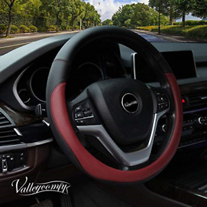 Valleycomfy Microfiber Leather Steering Wheel Cover Universal 15 Inchwine Red