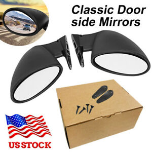 2pcs Universal Car Side View Mirrors For Suv Car Truck Van Traffic Safety Black