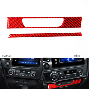 Red Carbon Fiber Console Seat Heating Button Cover For Honda Civic Coupe 2013 15