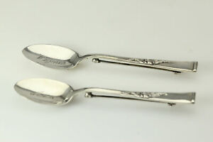 Lot Of 2 Reed Barton 925 Sterling Silver Spoon Brooches 10 5 Grams Ant3141
