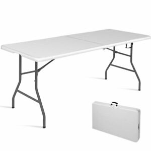 6 Folding Table Portable Plastic Indoor Outdoor Picnic Party Dining Camp Tables